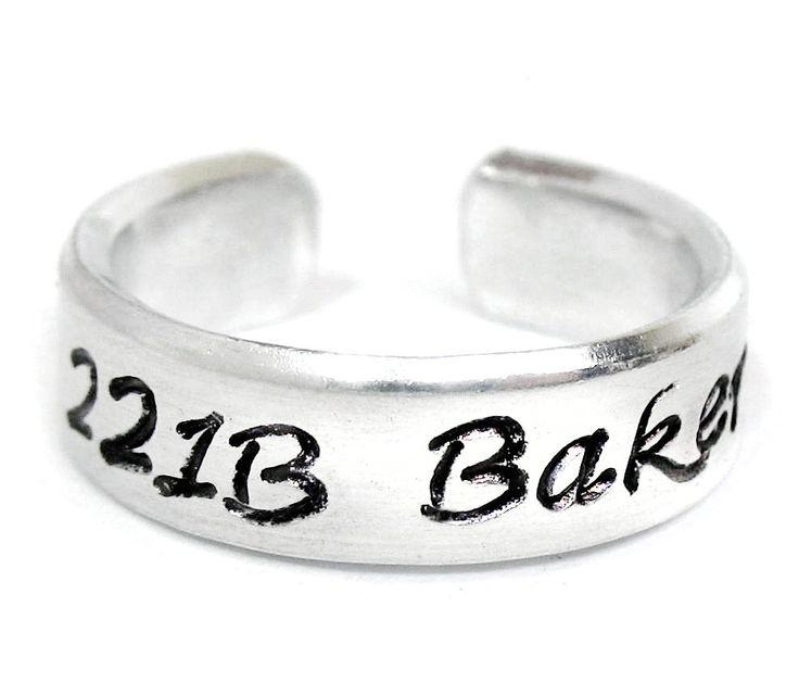 221B Baker Street - Sherlock Inspired, Hand Stamped Aluminum Ring
