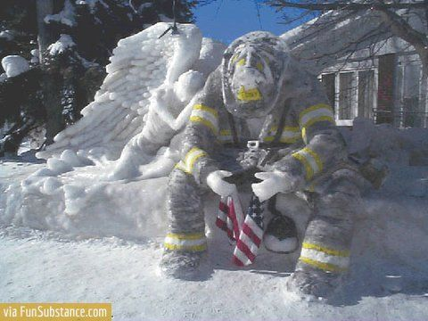This snow sculpture was made by a person in South Porcupine, Ontario, Canada as a tribute to the fire fighters and rescue workers during 9-11.