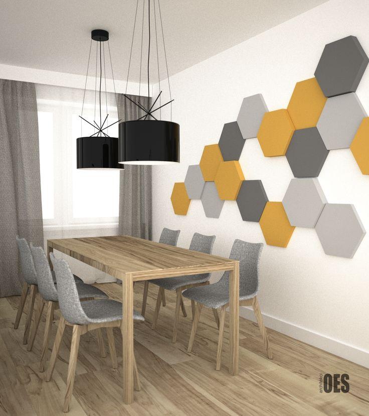 #nowoczesnajadalnia #jadalniawsalonie dekoracja z paneli fluffo, drewniany stół, salon z jadalnią