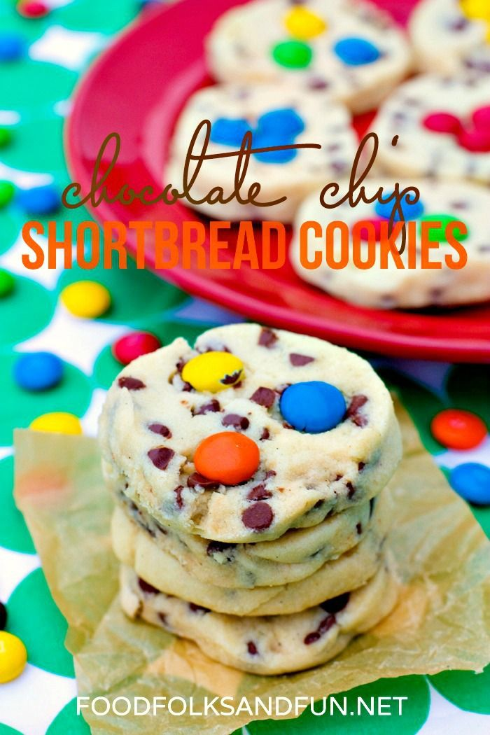 Chocolate Chip Shortbread Cookies with M&Ms are buttery, and so delicious! They can be made anytime of the year or customized for holidays.