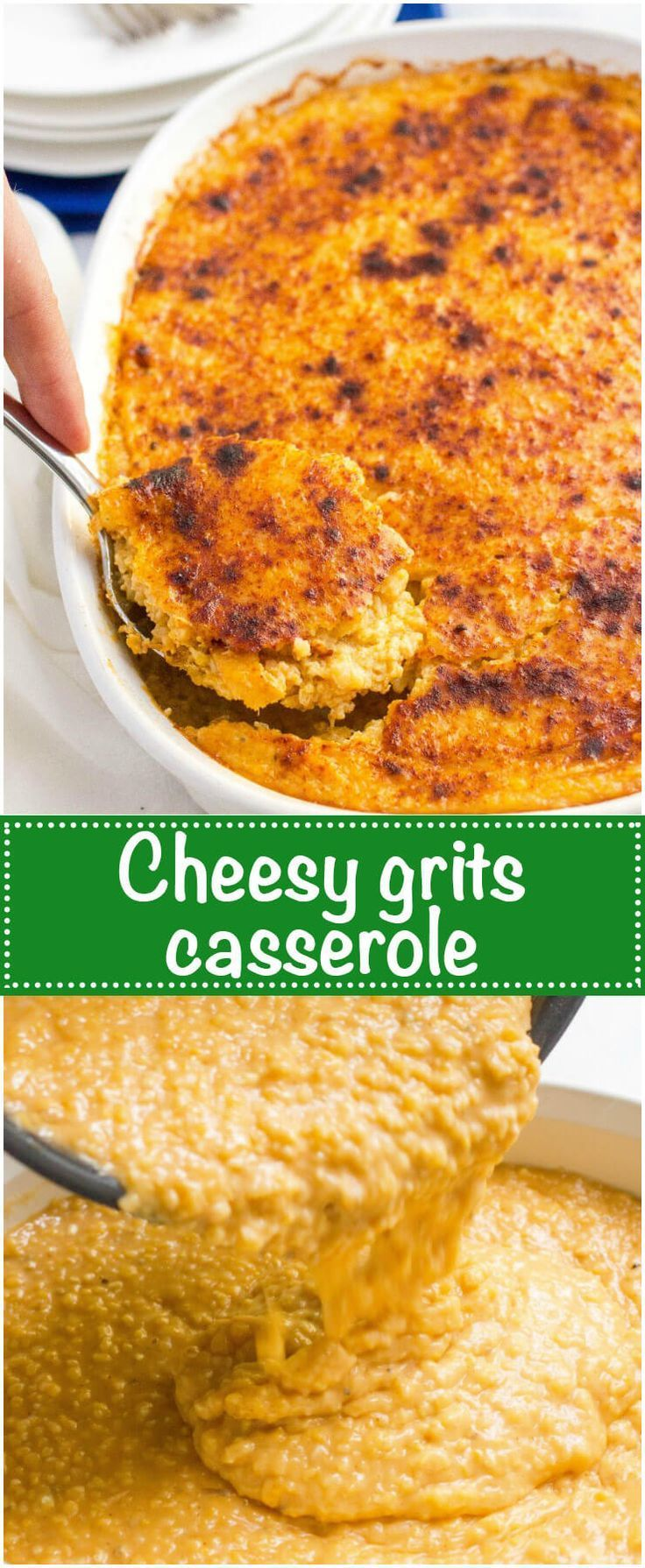 Overnight cheesy grits casserole - a great make ahead Southern breakfast or brunch recipe! | http://www.familyfoodonthetable.com