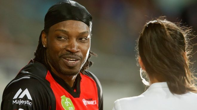 """Don't blush baby"" : Chris Gayle and Mel McLaughlin 