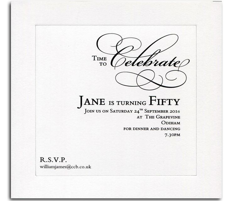 50th Birthday Invitations from Heritage Personalised Stationery