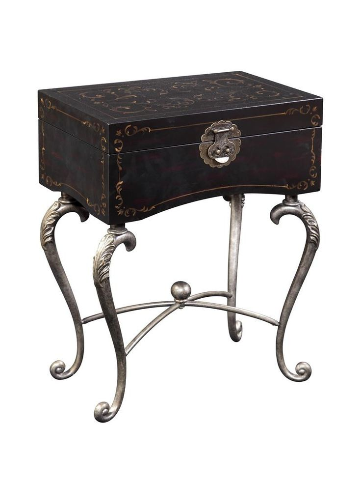 Lovely Ultimate Accents Iron Black Trunk Accent Table