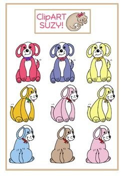 This is a collection of 9 cute and colourful dogs in 3 different positions - posing for the camera :-)  You also get some speech and though bubbles.All files are .png and 300dpi for superb printing quality.You may use these in all your commercial and personal projects as long as you give credit to me.