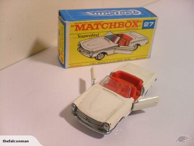 Mercedes 230 SL Convertible. #27, [ F-Box, white, red interior,thin wheels] | Trade Me