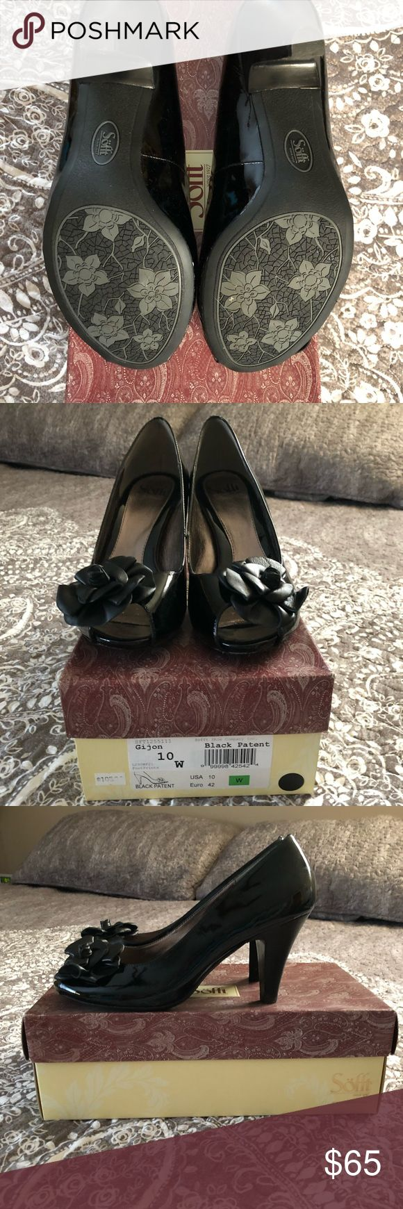 Black Patent leather pumps, size 10W Black Patent leather pumps, size 10W Brand: Sofft, Store purchase from: Footprints (Connecticut) Worn once for one hour Retail: $105.00 Sofft Shoes Heels
