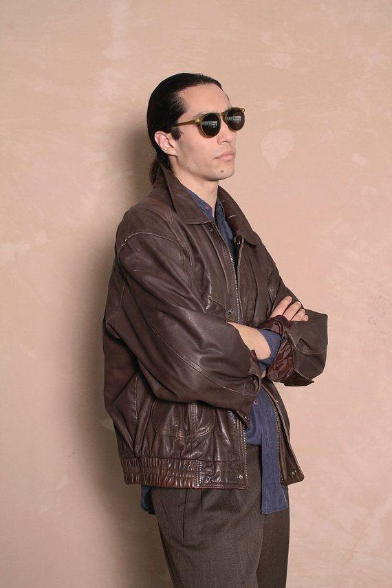 Vintage Men's 1980s dark brown leather jacket  by CitizenVintage