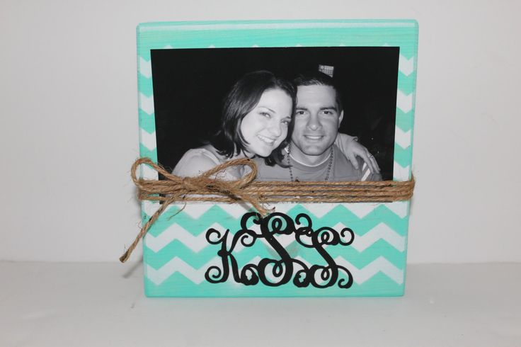 Bridesmaid Gift, Chevron Picture Frame, Personalized Photo Block by MyRusticPlace on Etsy