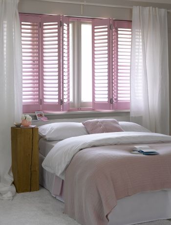Inspiration from www.californiashutters.co.uk The pink shutters really help make this room totally feminine, but the white walls ensure other colours can be chosen for accessories. #diyshutters #shutters #pantone #rosequartz #serenity