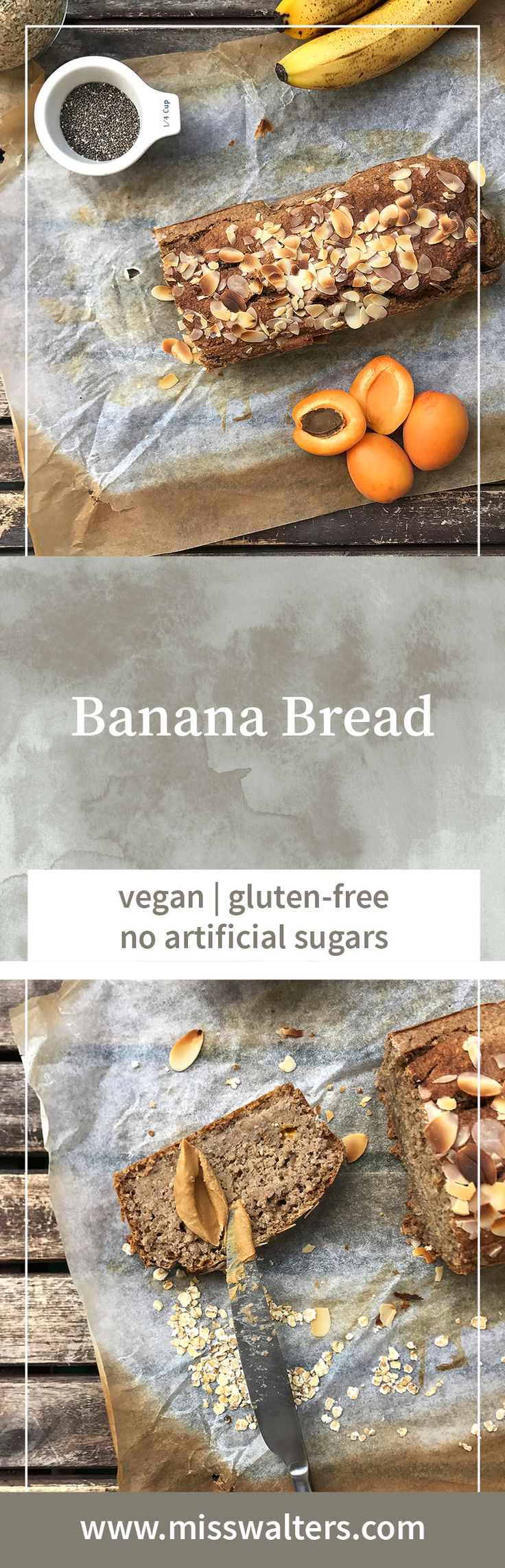 Let's have cake, sorry, bread for breakfast. This vegan Banana Bread is also gluten-free, oil-free and white sugar-free.