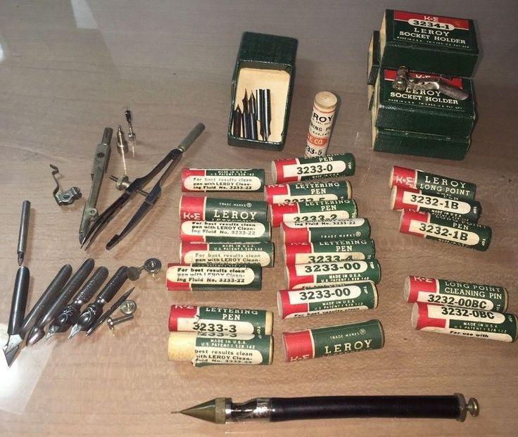 Leroy Lettering Drafting Technical Pen Tips LOT plus 5 Holders 3234-1 Assortment #KELeroy Sold $45.00