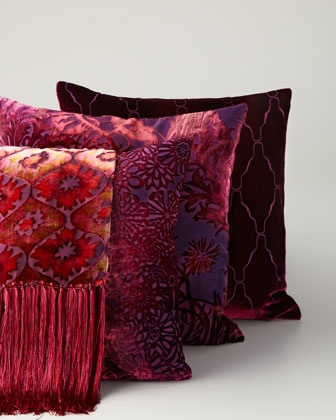 Red Velvet Throw & Pillow, Kevin O'Brien Studio, Neiman Marcus.
