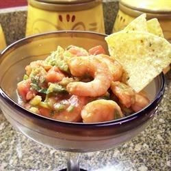 Shrimp cocktail, South Texas-style, with cilantro and serrano chiles. Serve with saltine crackers.