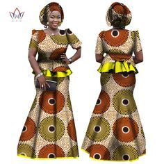 2017 African Women Clothing Brand African Vestido 6XL Wax traditional african clothing 2 pieces for Women Skirt Set BRW WY864