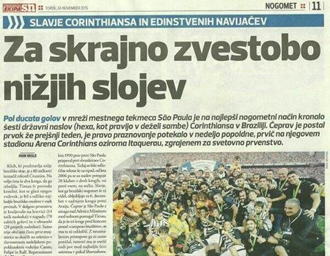 Sport Club Corinthians Paulista - Mesmo quem não domina o idioma esloveno consegue entender a matéria: #6x1doHexa  #HexaNaFavela #Corinthians #Timão #VaiCorinthians: