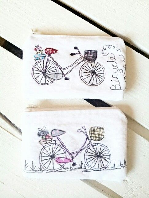 #handmade#freehandmachineembroidery # applique #bicycle #purses #picpacnaddywak