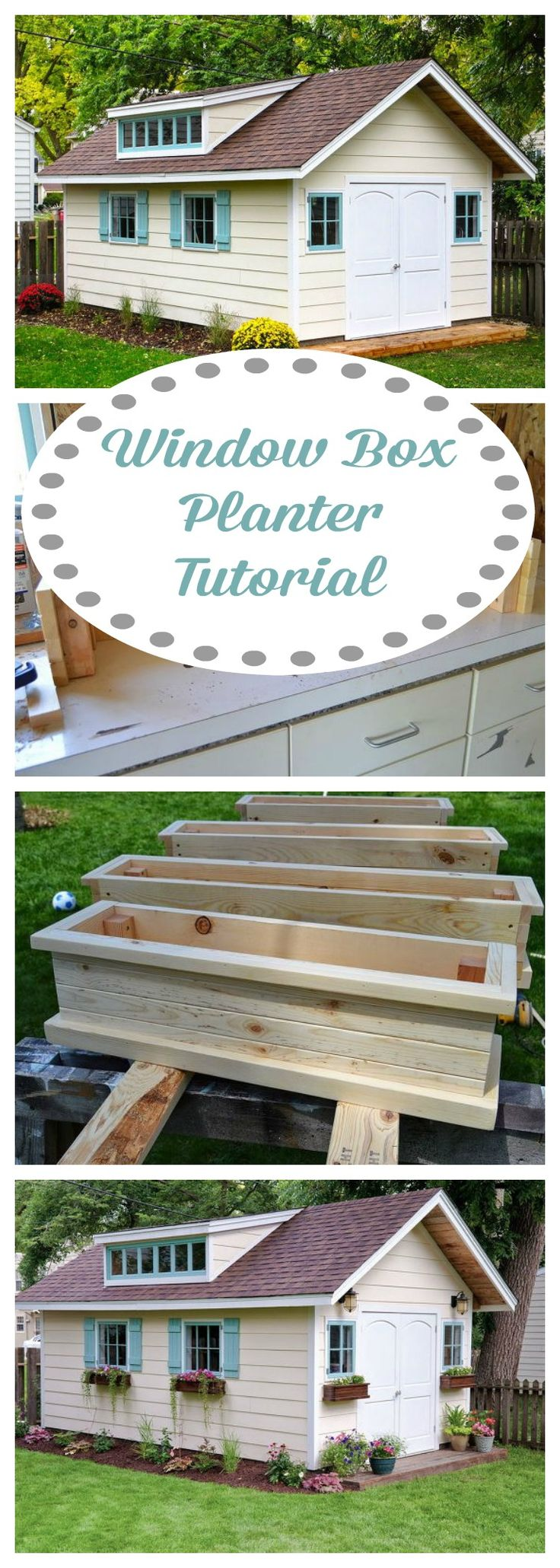 Easy to follow window box planter tutorial ~ the charm they added to this shed is amazing!