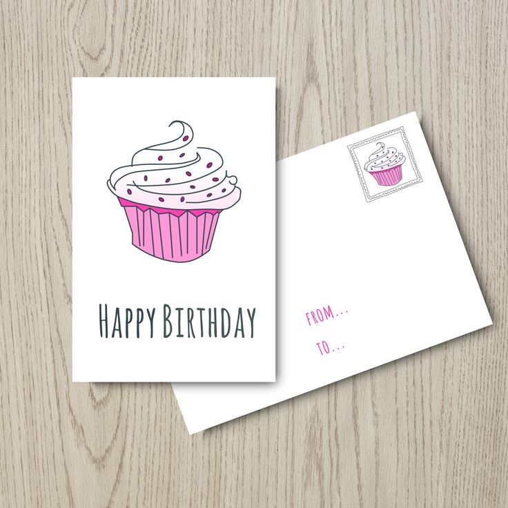 "Birthday Card: ""Happy Birthday Card"" Instant Download, Digital Card, Pink & Grey, Printable, Rosa e Grigio di MyRpaper su Etsy"