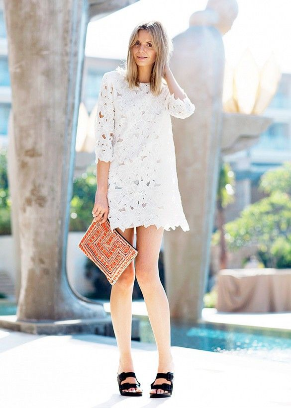 Try mixing it up by pairing a lace mini dress with an embellished clutch and Birkenstocks // #StreetStyle
