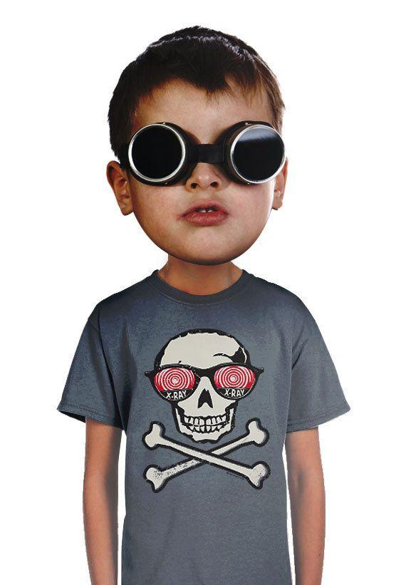skull t-shirt funny xray glasses kids t-shirt for by apesnort