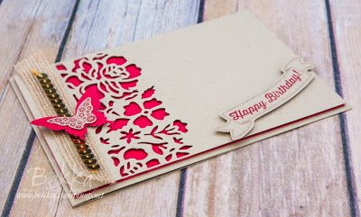Butterflies, Papillon Potpourri, Detailed Floral Thinlits Birthday Card in Crumb Cake and Real Red, Stampin' Up