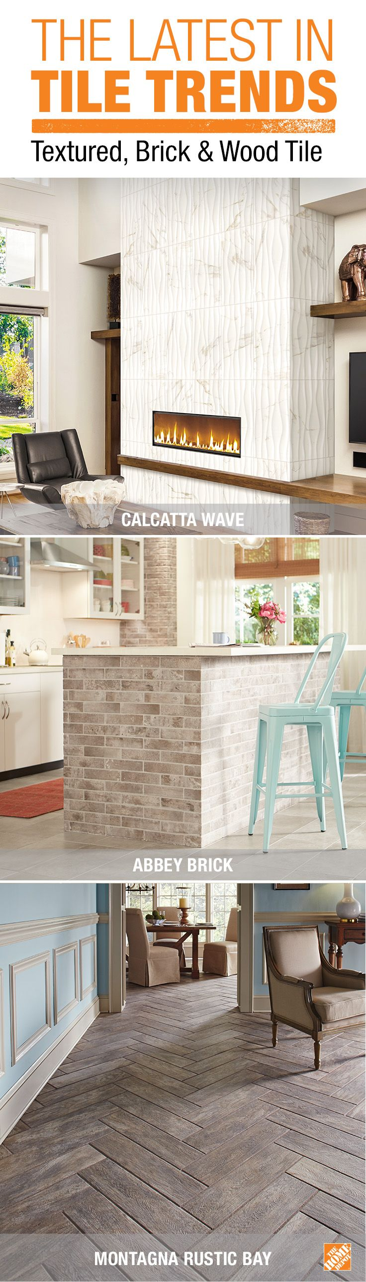 Check out the latest tile trends for your next home improvement project. Wave is a unique texture that enhances the look of any room. Brick-look tile creates a classic look without the weight of real bricks. And popular wood-look tile offers natural-looking grain with the durability and water resistance of tile. See more about these and other innovative tile trends at The Home Depot.