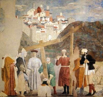 Legend of the True Cross:  Finding of the True Cross - Piero della Francesca.  1452-66.  Fresco.  Cappella Maggiore, San Francesco, Arezzo, Italy.