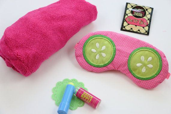 """Fun spa themed eye mask with applique cucumbers on pink pindot fabric. Popular spa party favors! Sleep masks measure approx. 7"""" wide and are"""