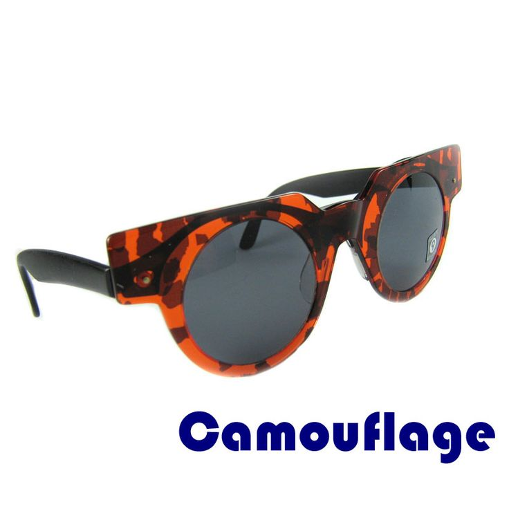 "Vintage sunglasses CAMOUFLAGE SWATCH  These round sunglasses are original and were made by Swatch in 1990s. The ""Camouflage"" model is for those who love camouflage design. The glasses are made of high quality acetate. The mask can be removed.   Price: €9.99"
