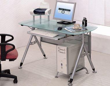 small glass top computer desk