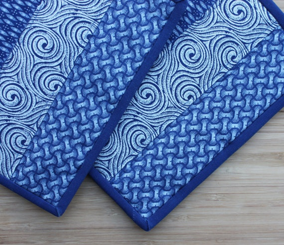 South African Blues - Handmade Quilted Potholders - Set of Two