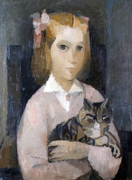 Manolo RUIZ-PIPO, La petite fille au chat, 1957