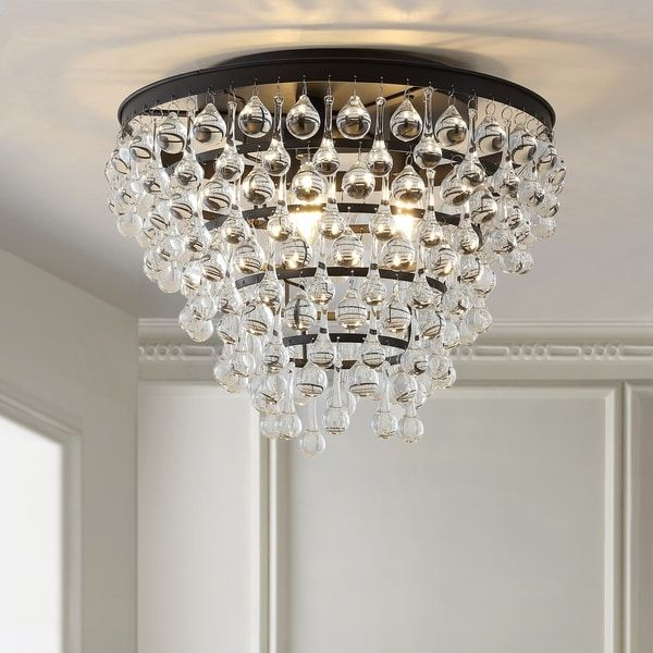 Toronto 16 Metal Crystal Led Flush Mount Oil Rubbed Bronze By
