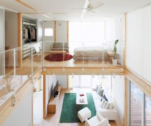 Home Design, Minimalist Bedroom Wooden Floor White Wall Brown Blankets  Mounted Fan Clock Green Carpet Sofa Cushion Table Led Tv Cabinet Sliding  Door And ...