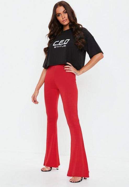 ebd06f775107cb Red Jersey Flared Trousers #fit#regular#waist | Korean Fashion ...