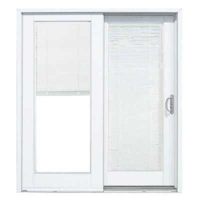 Mp doors 60 in x 80 in smooth white right hand composite - Exterior glass door with built in blinds ...