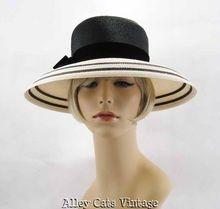 Vintage 1960s 60s Hat Wide Brim Black and White Straw Sz 22