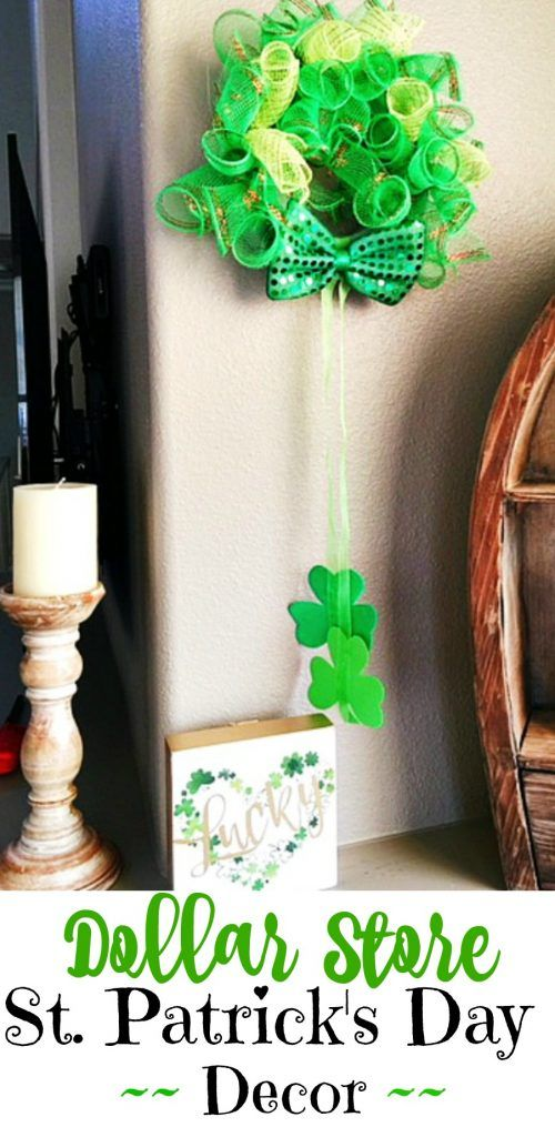 This edition of Dollar Store Holiday Crafts includes instructions on making a decorative mesh wreath made entirely out of dollar store craft supplies.   #stPatricksday #decor #dollerstore #craft #crafts