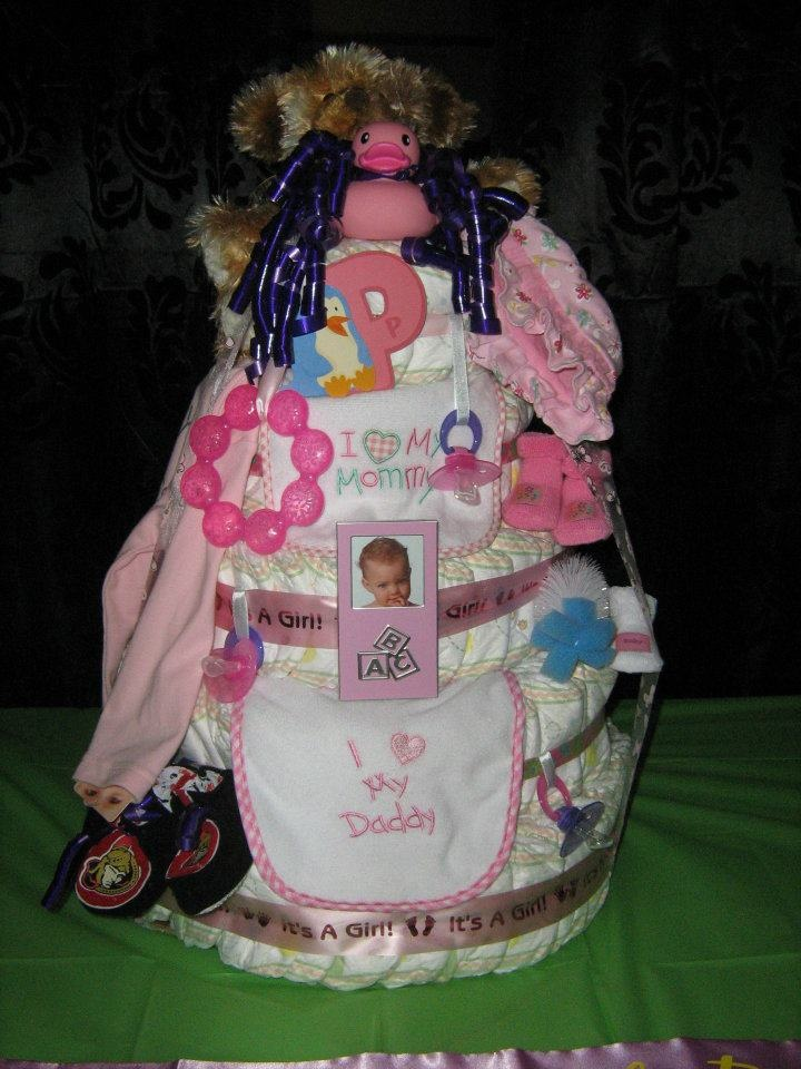 Baby girl diaper cake. I made this for a baby shower
