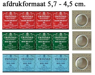 Twinings tea labels---wrap around block of wood 1.1 cm square