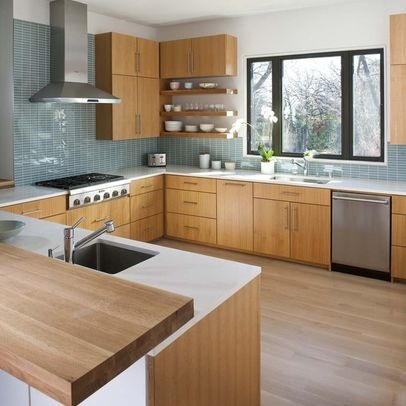 17 best images about floors that go with oak cabinets on for Mid century modern kitchen cabinets
