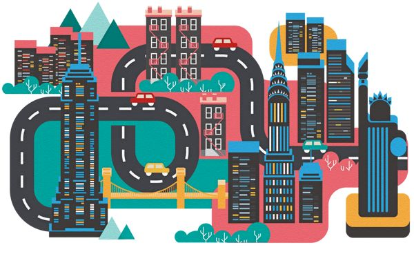 Cities by Jing Zhang, via Behance