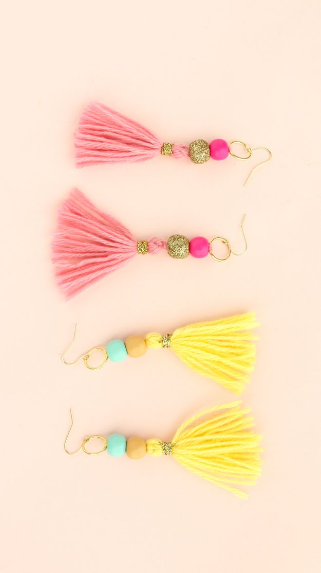 I am not kidding when I say that these tassel earrings are quite literally the simplest project ever! I found these pre-made tassel charms ...
