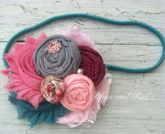 Pink, Teal, Mauve, French Blue, Burgundy Purple, Rosette Fabric Flower Headband, Hair Clip, Shabby Chiffon Flowers, Chic Shabby Hair Flower on Etsy, $15.25