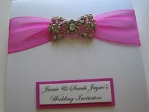 Wallet fold wedding invitations with sparkle & personalised with names