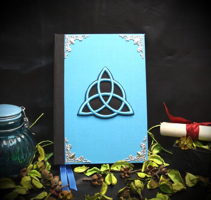 """Libro delle Ombre """"New Turquoise Triquetra"""" paganism pagan symbolism wicca handcrafted journal by LittleSorcerer on Etsy"""