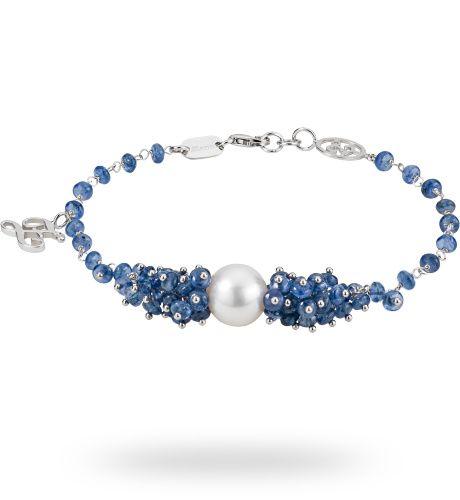 Bracciale in oro bianco 18 kt. con 29.00 ct. di zaffiro blu, perla e 0.01 ct. di diamante - Zoccai #gold #bracelet #blue