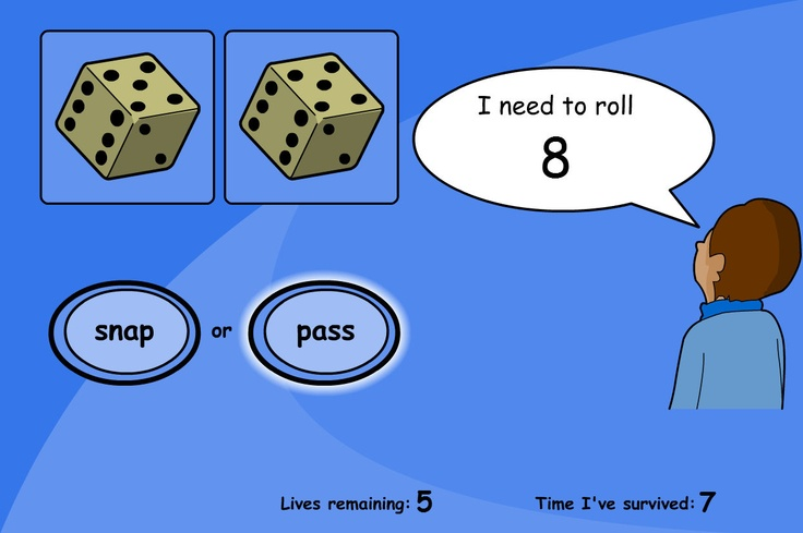 """A game of snap for matching numbers to the dice. Roll the dice and hit """"snap"""" when the dice total matches the target. Hit """"pass"""" if another roll is needed."""