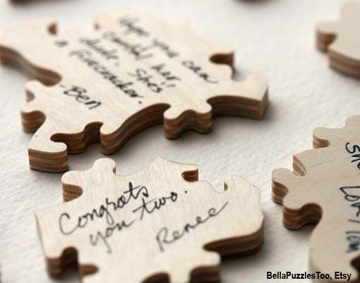 this is cute guest book sign-in idea, have grampa take a big piece of wood and cut it into puzzle pieces then work the puzzle after the wedding, glue the reverse side and hang it in a hallway or open room.